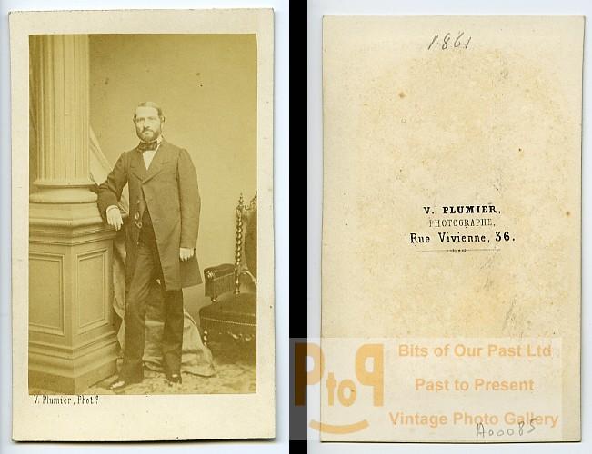 Man Standing Fashion Paris Early Studio Photo Plumier Old CDV 1860