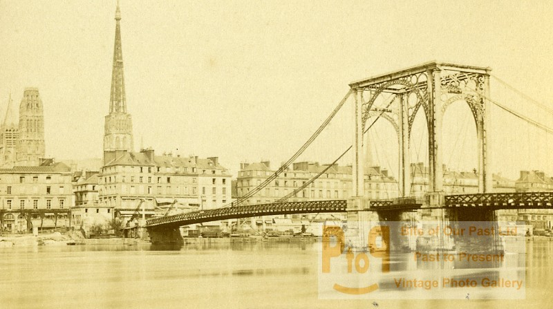 france rouen suspension bridge old cdv photo 1870. Black Bedroom Furniture Sets. Home Design Ideas