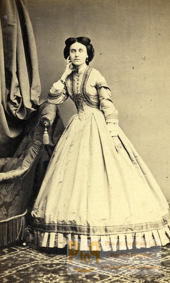 Second Fashion Woman Old Bureau Of Photo Paris Cdv France 1865 Empire b7Yyf6gv