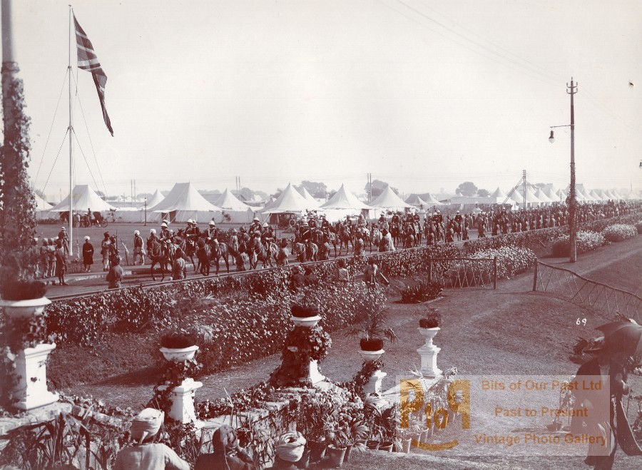 India Lucknow British Colony Royal Field Artillery? Parade Old Lawrie Photo  1910