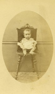 Baby Seated Fashion Paris Early Studio Photo Old CDV Crepin 1860