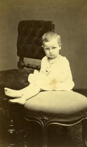 Baby Seated Fashion Paris Early Studio Photo Old CDV Carjat 1860