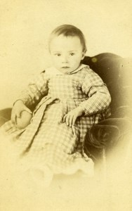 Baby Seated Fashion Paris Early Studio Photo Old CDV Badie 1860