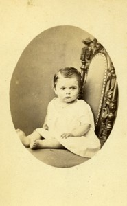Baby Seated Fashion Paris Early Studio Photo Old CDV Antonin 1860