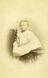 Baby Seated Fashion Paris Early Studio Photo Old CDV See Jally 1860