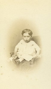 Baby Seated Fashion Paris Early Studio Photo Old CDV Robe Rossini 1860