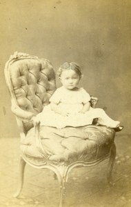 Baby Seated Fashion Paris Early Studio Photo Old CDV Mulnier 1860