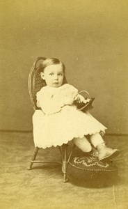 Baby Seated Fashion Paris Early Studio Photo Old CDV Maujean Dubois 1860