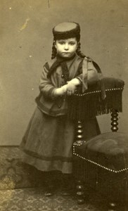 Young Girl Fashion Paris Early Studio Photo Lege & Bergeron Old CDV 1870