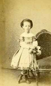Young Girl Fashion Paris Early Studio Photo Bertall Old CDV 1860