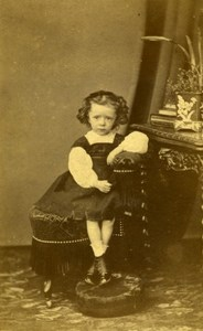 Young Girl Fashion Paris Early Studio Photo Lejeune Old CDV 1860