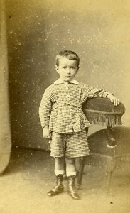 Young Boy Fashion Paris Early Studio Photo Bertall Old CDV 1860