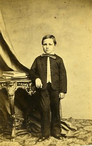 Young Boy Fashion Paris Early Studio Photo Plumier Old CDV 1860