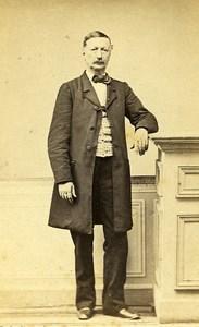 Man Standing Fashion Paris Early Studio Photo Houdet Old CDV 1860