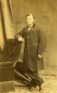 Man Standing Fashion Paris Early Studio Photo Bertrand Old CDV 1860