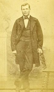 Man Standing Fashion Paris Early Studio Photo Bacard Old CDV 1860