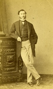 Man Standing Fashion Paris Early Studio Photo Franck Old CDV 1860