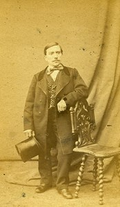 Short Man Standing Fashion Paris Early Studio Photo Robe Old CDV 1860