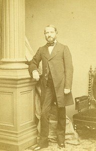 Man Standing Fashion Paris Early Studio Photo Plumier Old CDV 1860