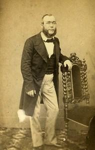 Man Standing Fashion Paris Early Studio Photo Pignolet Old CDV 1860