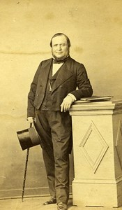 Man Standing Fashion Paris Early Studio Photo Petit Old CDV 1860