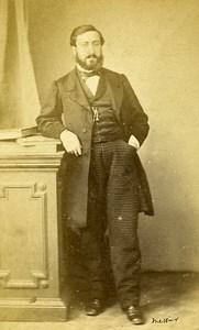 Man Standing Fashion Paris Early Studio Photo Messier Old CDV 1860