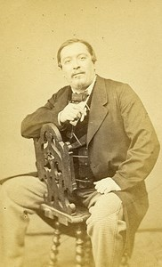 Man Sitting Fashion Paris Early Studio Photo Robe Old CDV 1860