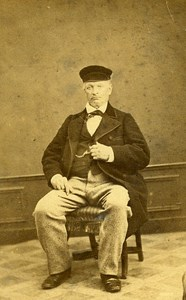 Man Sitting Fashion Paris Early Studio Photo Duparcq Old CDV 1860