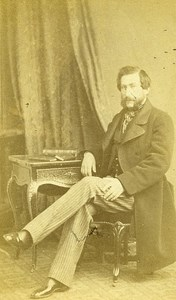 Man Sitting Fashion Paris Early Studio Photo Bisson Freres Old CDV 1860