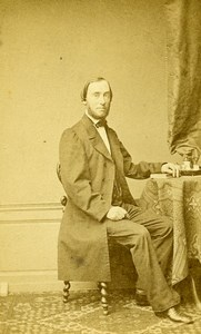 Man Sitting Fashion Paris Early Studio Photo Persus Old CDV 1860