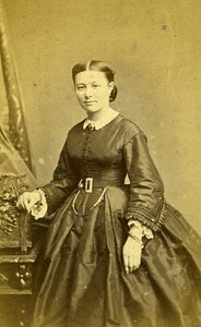 Woman Standing Paris Early Studio Photo Plumier Old CDV 1860