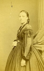Woman Standing Paris Early Studio Photo See Old CDV 1860