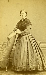 Woman Standing Paris Early Studio Photo Jamin Old CDV 1860