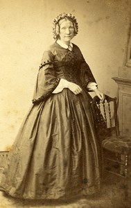 Woman Standing Paris Early Studio Photo Delintraz Old CDV 1860
