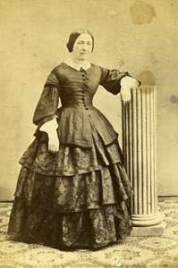 Woman Standing Paris Early Studio Photo Burckel Old CDV 1860