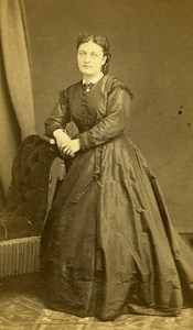 Woman Standing Paris Early Studio Photo Bertrand Old CDV 1860