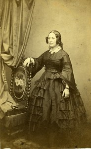 Woman Standing Paris Early Studio Photo Anjoux Old CDV 1860