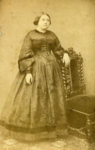 Woman Standing Paris Early Studio Photo Pignolet Old CDV 1860