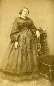 Woman Standing Paris Early Studio Photo Pignolet Old CDV 1860