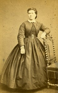 Woman Standing Paris Early Studio Photo Pestel Old CDV 1860