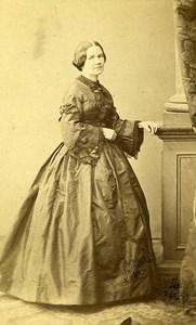Woman Standing Paris Early Studio Photo Mulnier Old CDV 1860