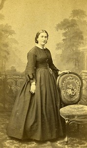 Woman Standing Paris Early Studio Photo Mouret Old CDV 1860
