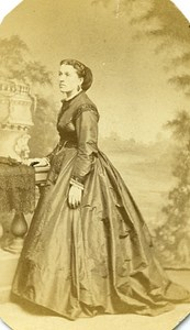 Woman Standing Paris Early Studio Photo Marcel Old CDV 1860