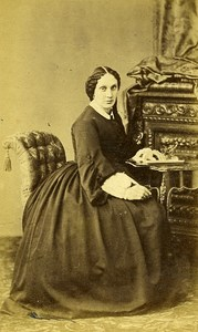Woman Seated Paris Early Studio Photo Franck Old CDV 1860