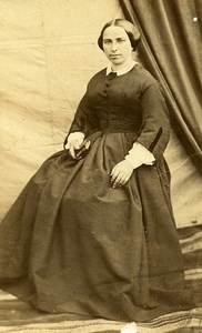 Woman Seated Paris Early Studio Photo Torra Old CDV 1860