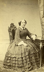 Woman Seated Paris Early Studio Photo Persus Old CDV 1860