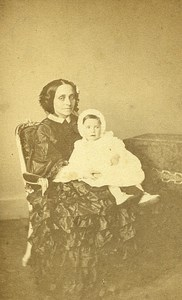 Mother & Child Paris Early Studio Photo Franck Old CDV 1860
