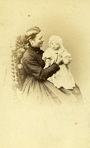 Mother & Child Paris Early Studio Photo Mouret Old CDV 1860