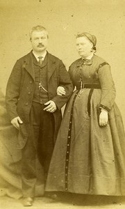 Couple Paris Early Studio Photo Old Dupuy CDV 1860