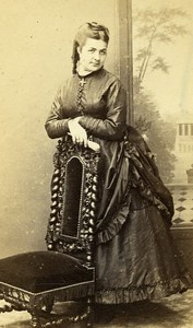 Woman Fashion 54000 Nancy Early Photographic Studio Perin Old CDV Photo 1870